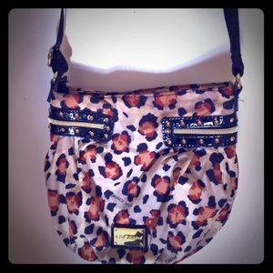 Betsey Johnson nylon leopardprint purse